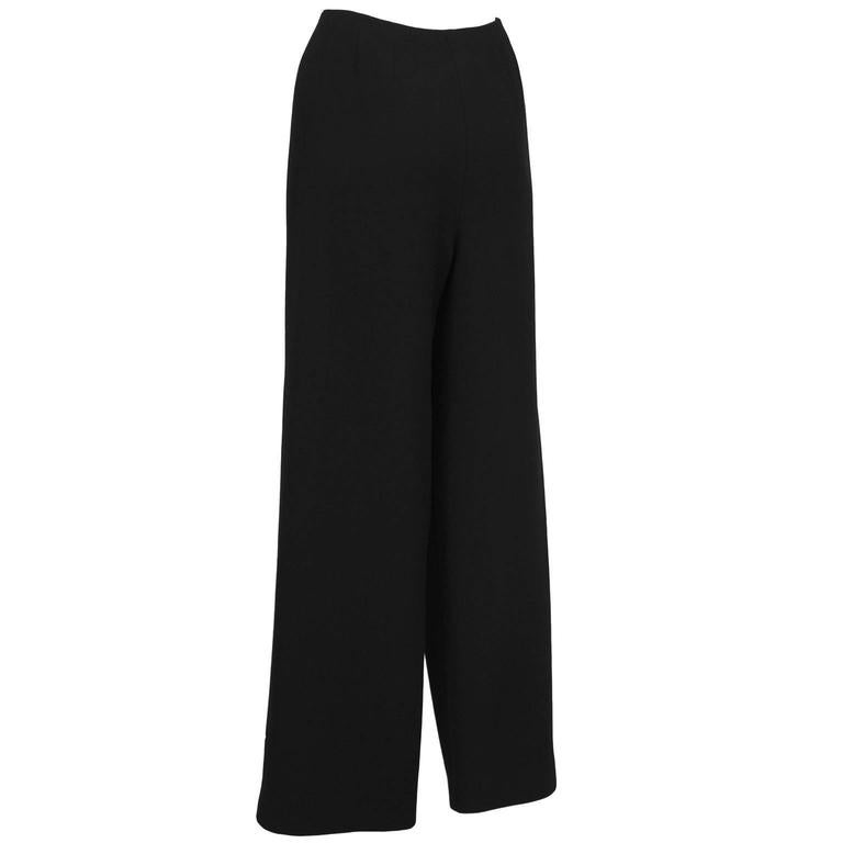 Gray 1997 Fall Chanel Black Wool/Crepe Sailor-Front Pant For Sale