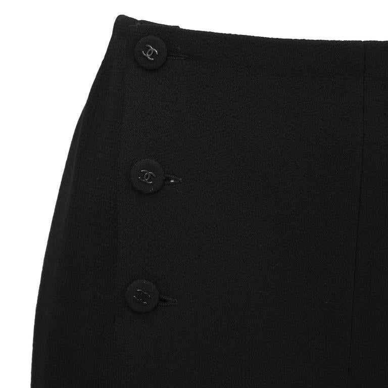 Women's 1997 Fall Chanel Black Wool/Crepe Sailor-Front Pant For Sale