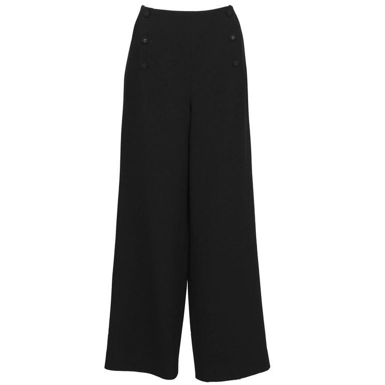 1997 Fall Chanel Black Wool/Crepe Sailor-Front Pant For Sale