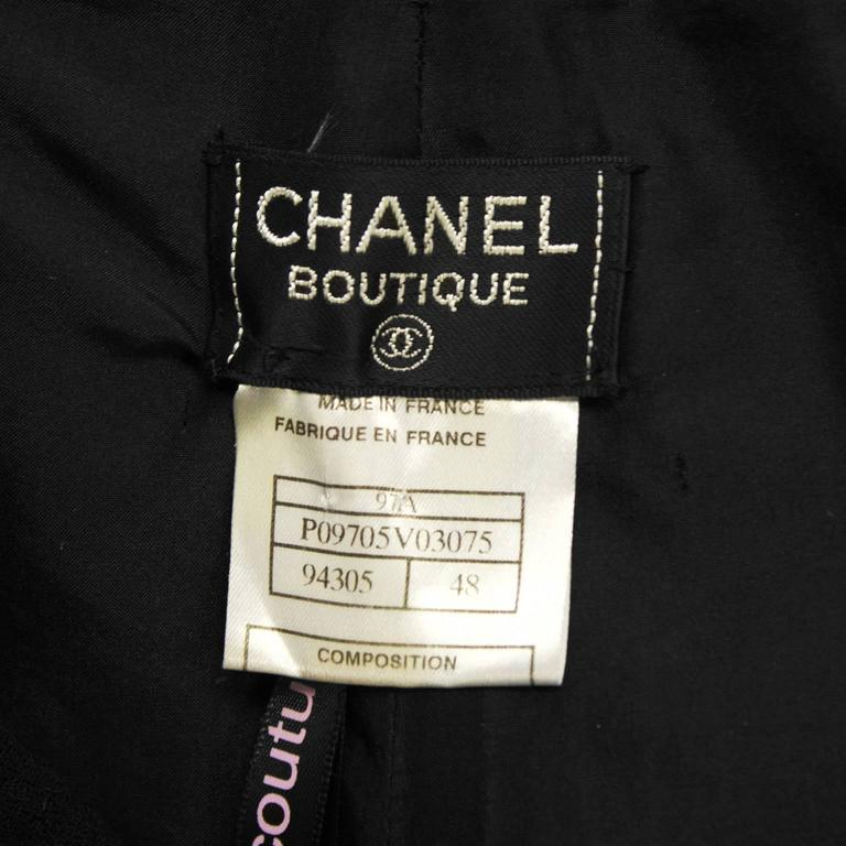 1997 Fall Chanel Black Wool/Crepe Sailor-Front Pant For Sale 1