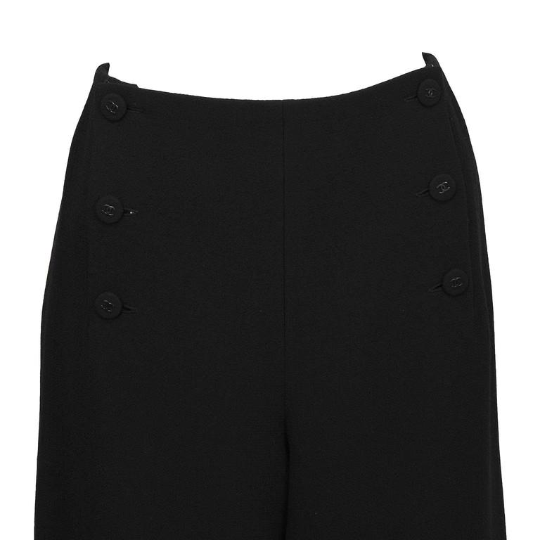 1997 Fall Chanel Black Wool/Crepe Sailor-Front Pant In Excellent Condition For Sale In Toronto, Ontario