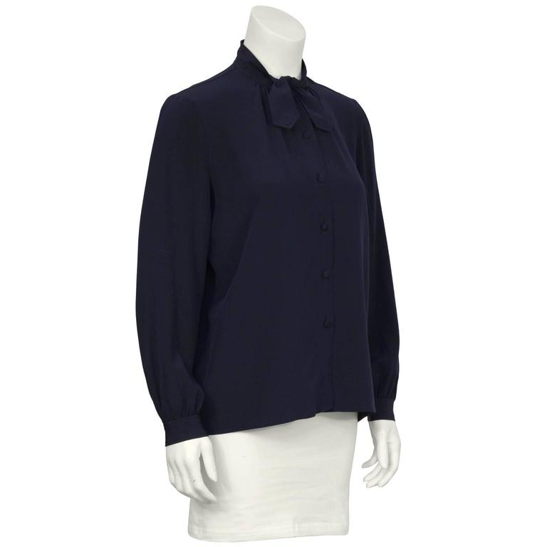 Black 1970's Chanel Navy Tie Blouse For Sale