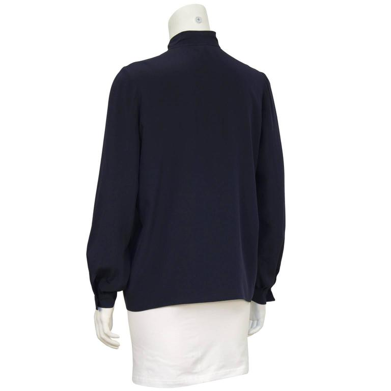 1970's Chanel Navy Tie Blouse In Excellent Condition For Sale In Toronto, Ontario