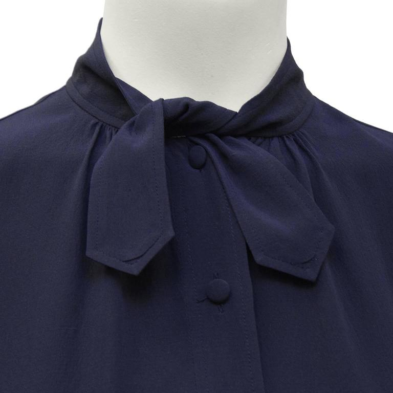 Women's 1970's Chanel Navy Tie Blouse For Sale