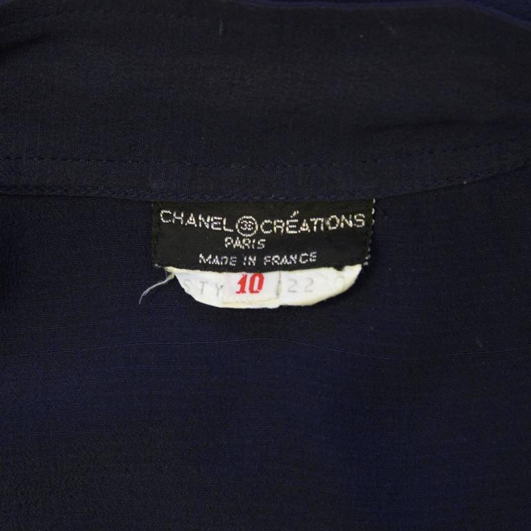 1970's Chanel Navy Tie Blouse For Sale 1