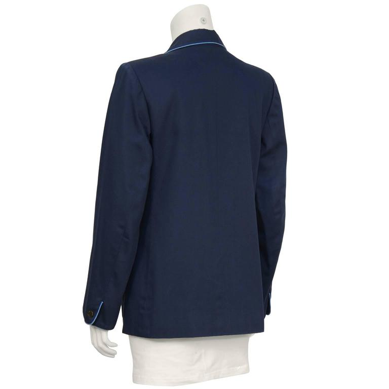 Black Early 1970's Yves Saint Laurent YSL Navy Cotton Jacket Piped in Blue  For Sale