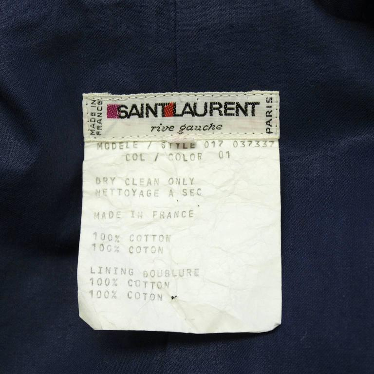 Women's or Men's Early 1970's Yves Saint Laurent YSL Navy Cotton Jacket Piped in Blue  For Sale