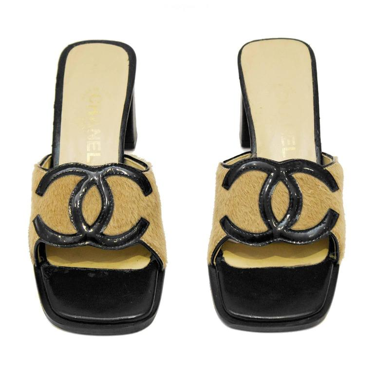 1990's Chanel Ponyhair High Heel Slides