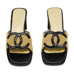 1990's Chanel Ponyhair High Heel Slides