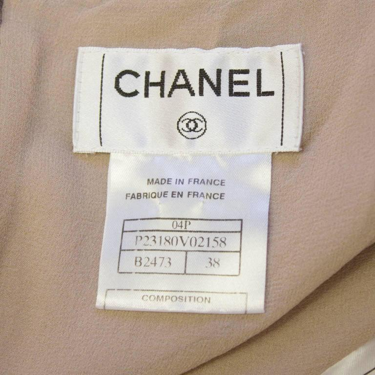 Chanel 2004 Spring Celadon and Beige Chiffon Dress and Vest 6