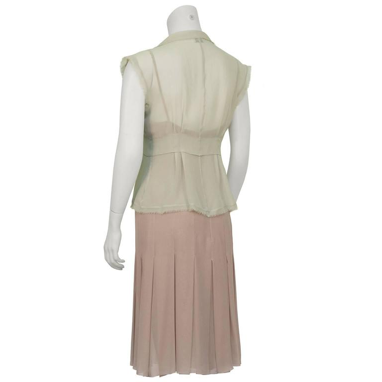Chanel 2004 Spring Celadon and Beige Chiffon Dress and Vest 3