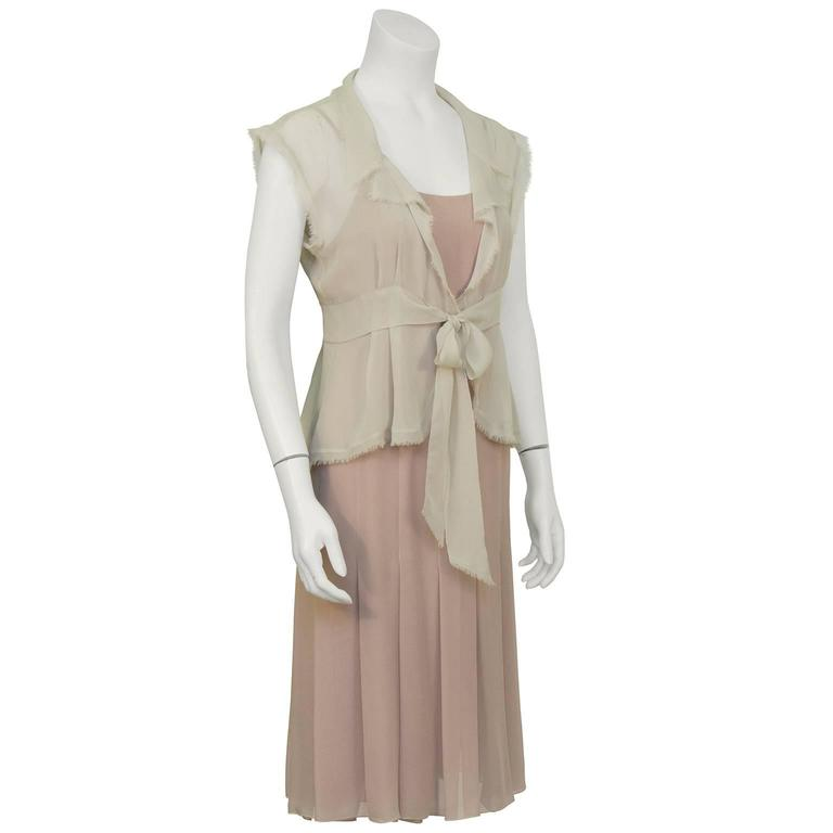 Chanel 2004 Spring Celadon and Beige Chiffon Dress and Vest 2