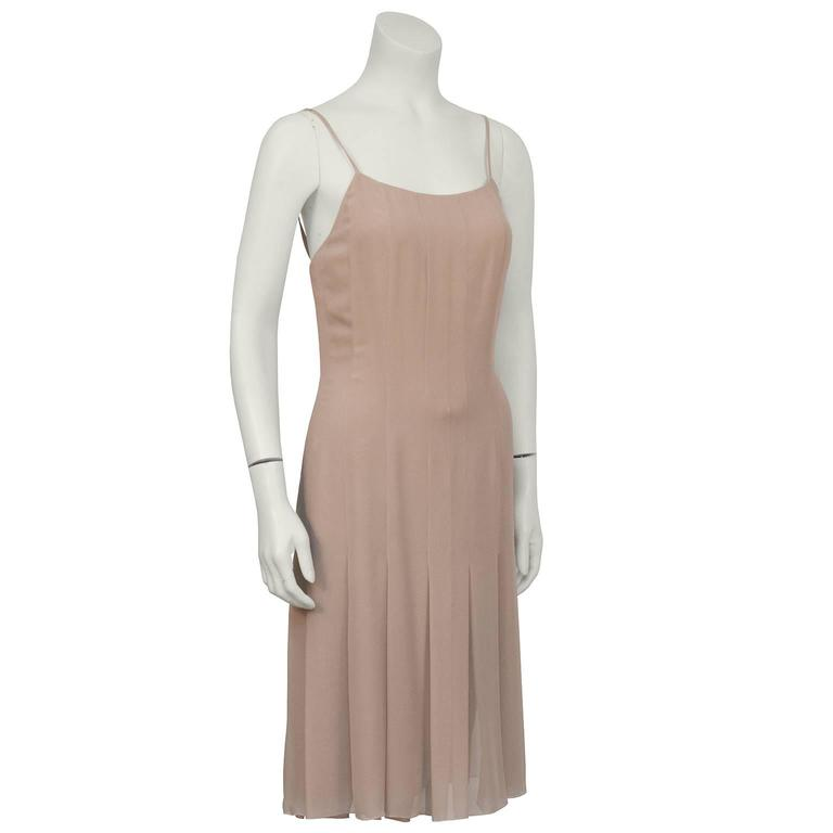 Chanel 2004 Spring Celadon and Beige Chiffon Dress and Vest 4