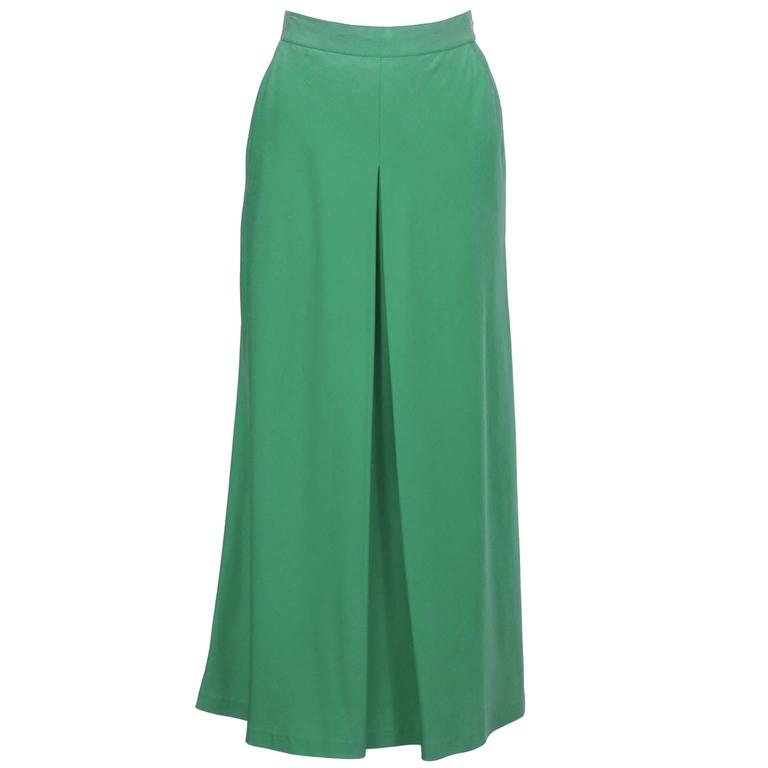 1980's Chanel Green Silk Culotte Style Maxi Skirt