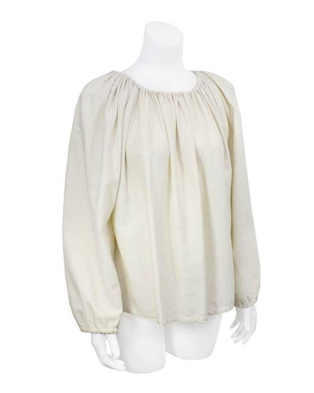 1970's Lanvin Cream Linen Smock Top 2