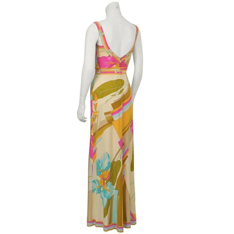 Brown 1970's Leonard Pastel Print Maxi Dress For Sale