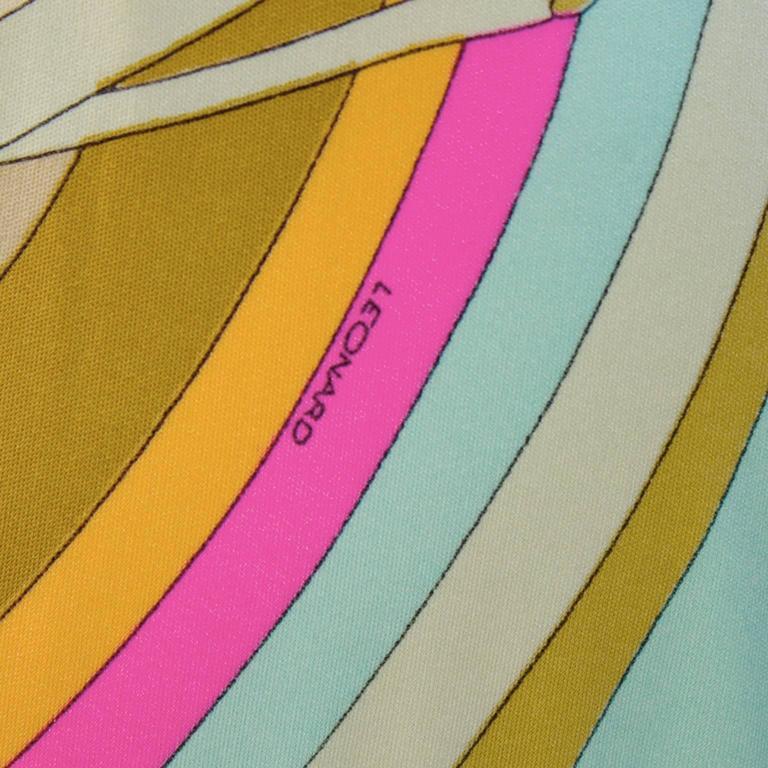 Women's 1970's Leonard Pastel Print Maxi Dress For Sale