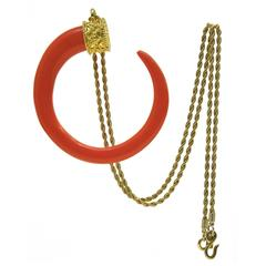 1970's Kenneth Jay Lane Faux Coral Crescent Pendant