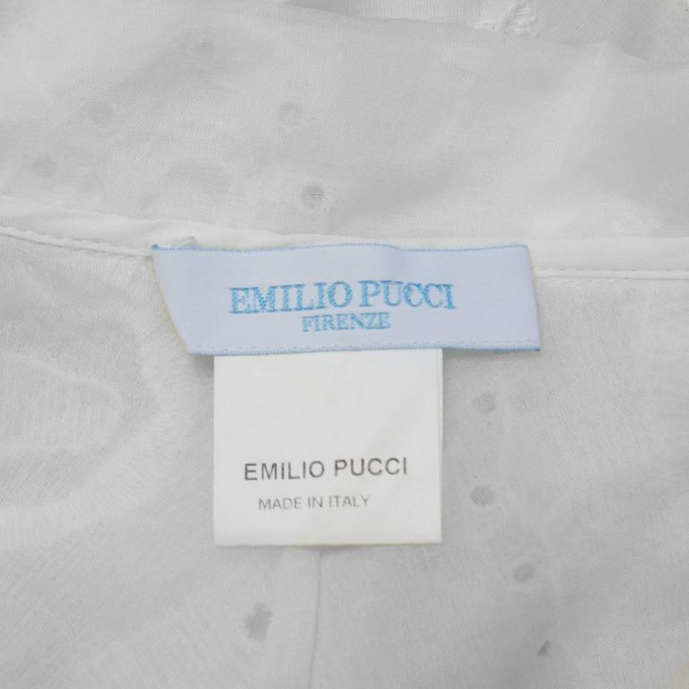 2000's Pucci White Eyelet Top With Patterned Belt 7