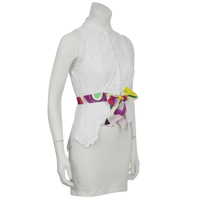 Gray 2000's Pucci White Eyelet Top With Patterned Belt For Sale