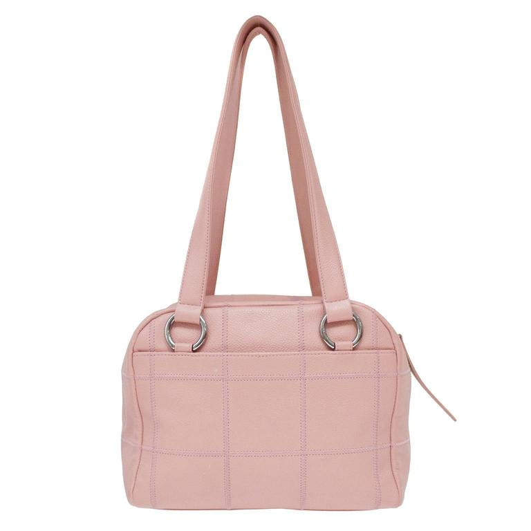 Pink Pebbled Leather Bowler Style Bag With A Sched Grid Detail From The Mid 2000 S