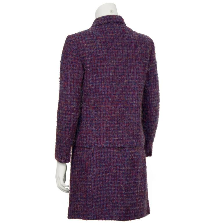 Black 1960's Guy Laroche Purple and Blue Woven Wool Suit For Sale