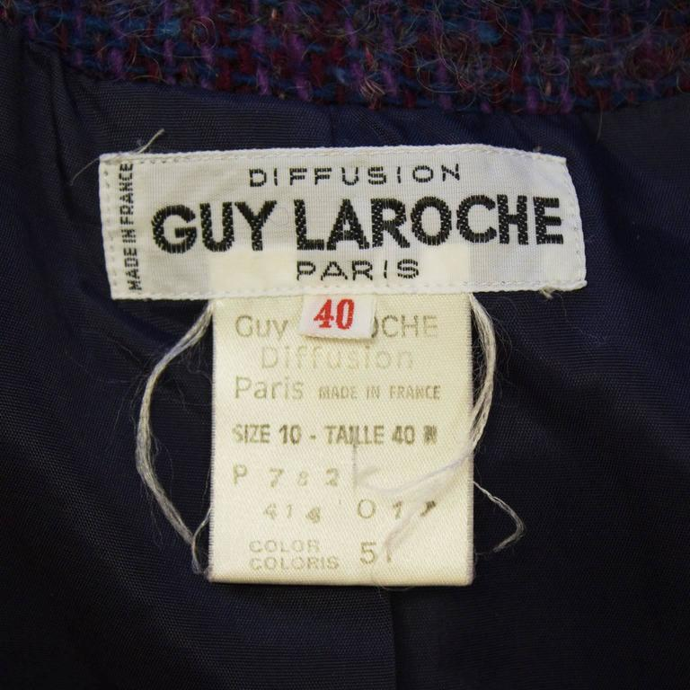 1960's Guy Laroche Purple and Blue Woven Wool Suit For Sale 1