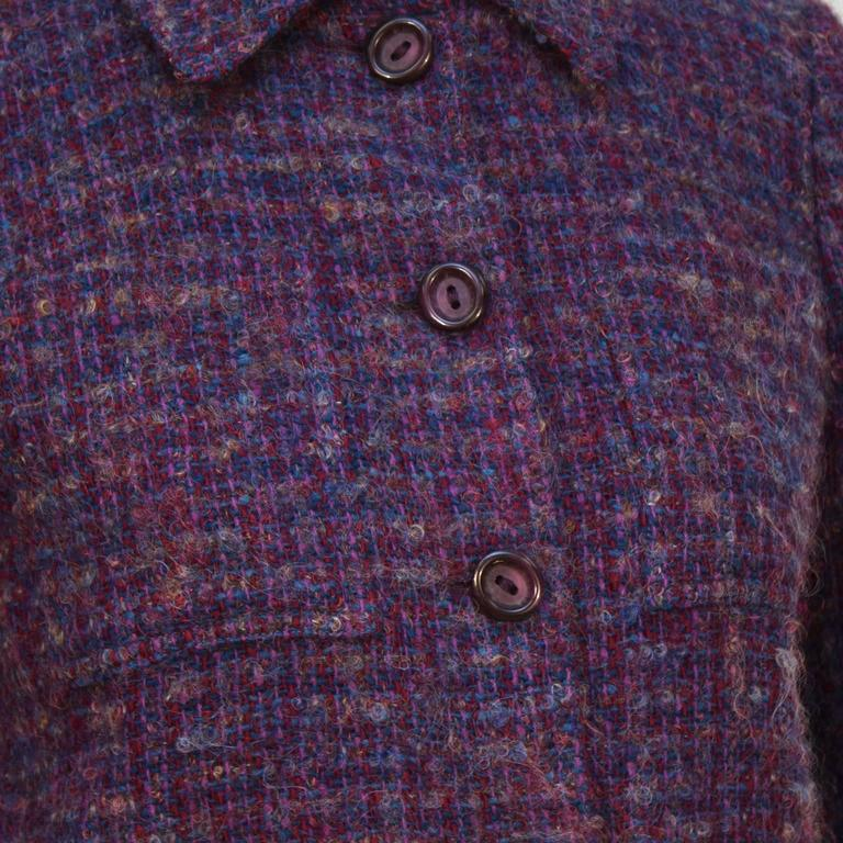 Women's 1960's Guy Laroche Purple and Blue Woven Wool Suit For Sale