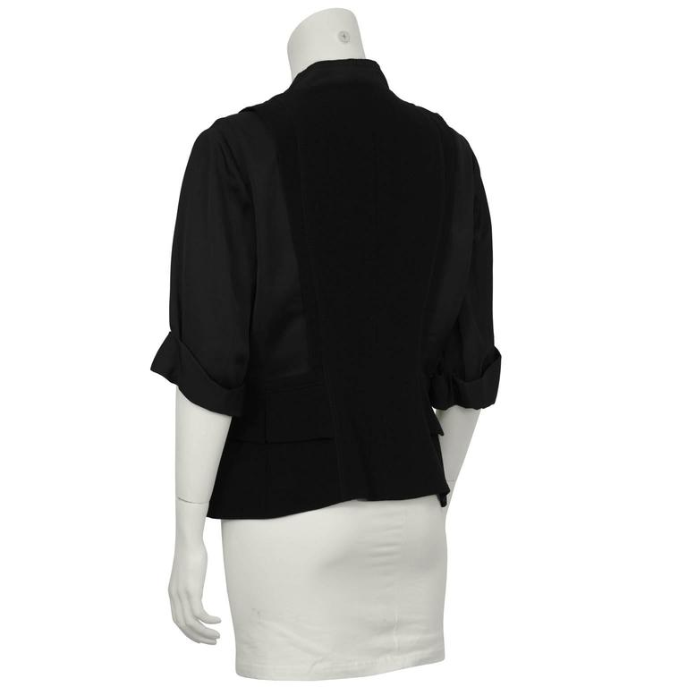2000's Prada Black Jacket with Rhinestone Flowers  In Excellent Condition For Sale In Toronto, CA