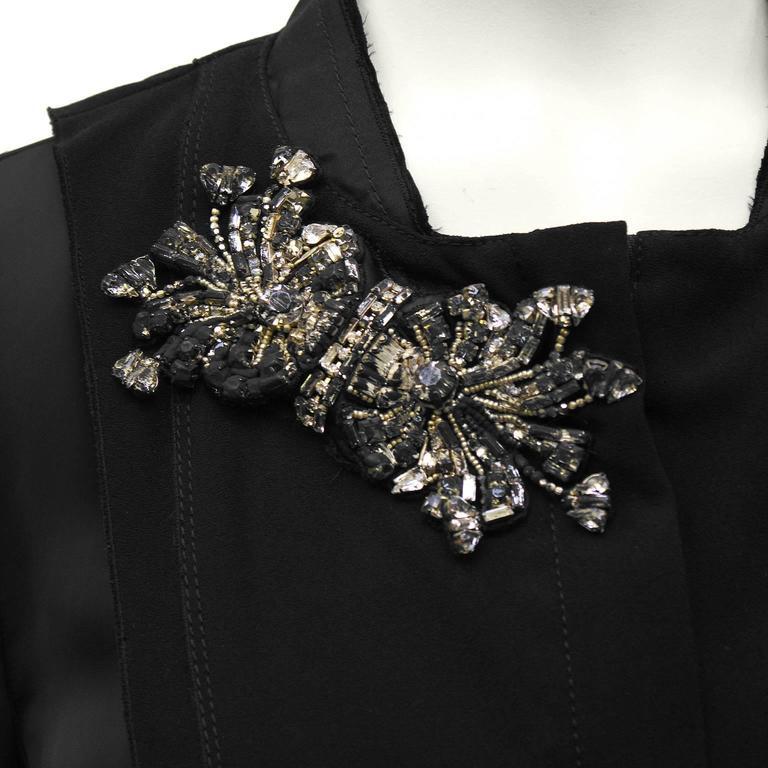 Women's 2000's Prada Black Jacket with Rhinestone Flowers  For Sale