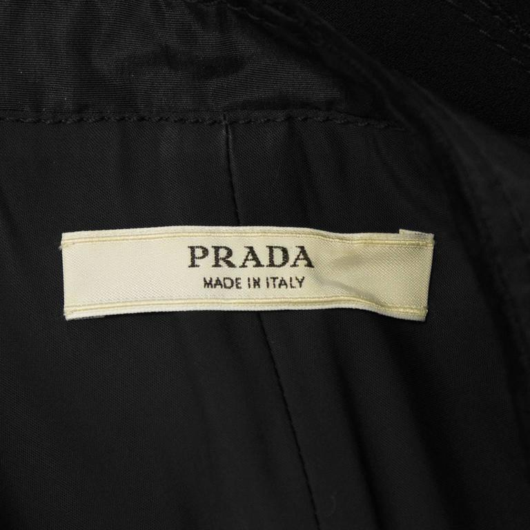2000's Prada Black Jacket with Rhinestone Flowers  6