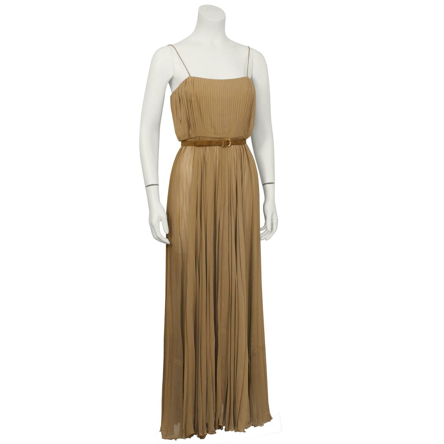 Bill Blass Mocha Chiffon Pleated Gown w/ Belt For Sale at 1stdibs