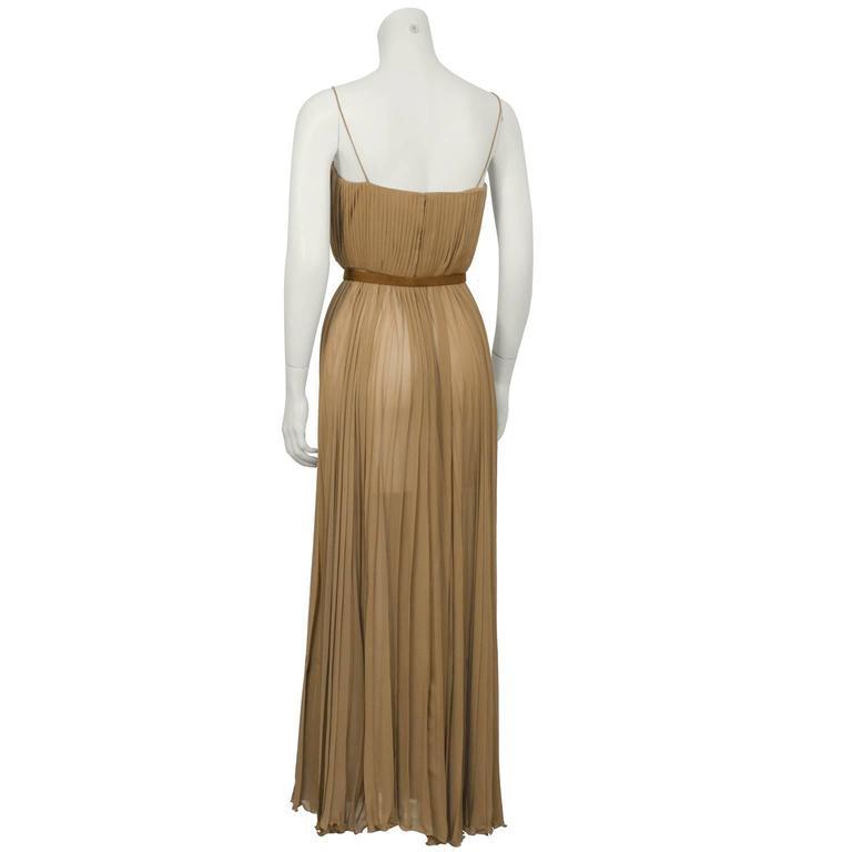 Bill Blass Mocha Chiffon Pleated Gown w/ Belt 4
