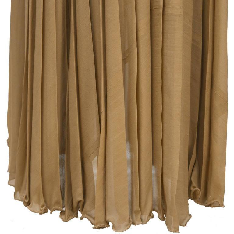Bill Blass Mocha Chiffon Pleated Gown w/ Belt 5