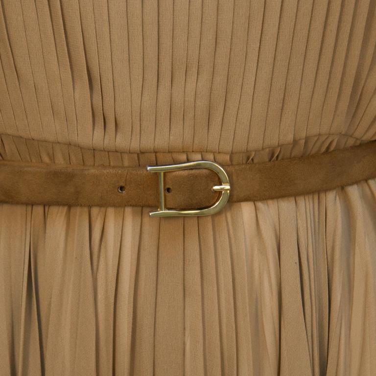 Bill Blass Mocha Chiffon Pleated Gown w/ Belt 6
