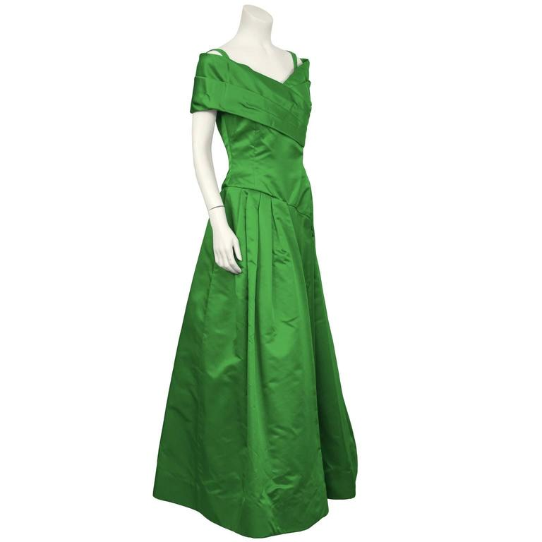 1990's Scaasi Emerald Green Satin Gown 2