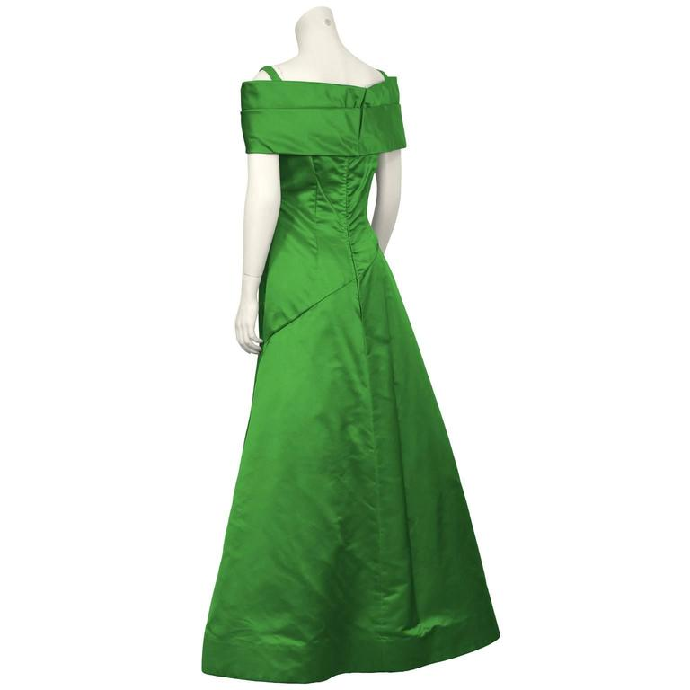 1990's Scaasi Emerald Green Satin Gown 3
