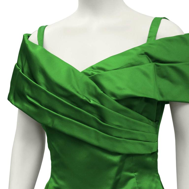 1990's Scaasi Emerald Green Satin Gown 4