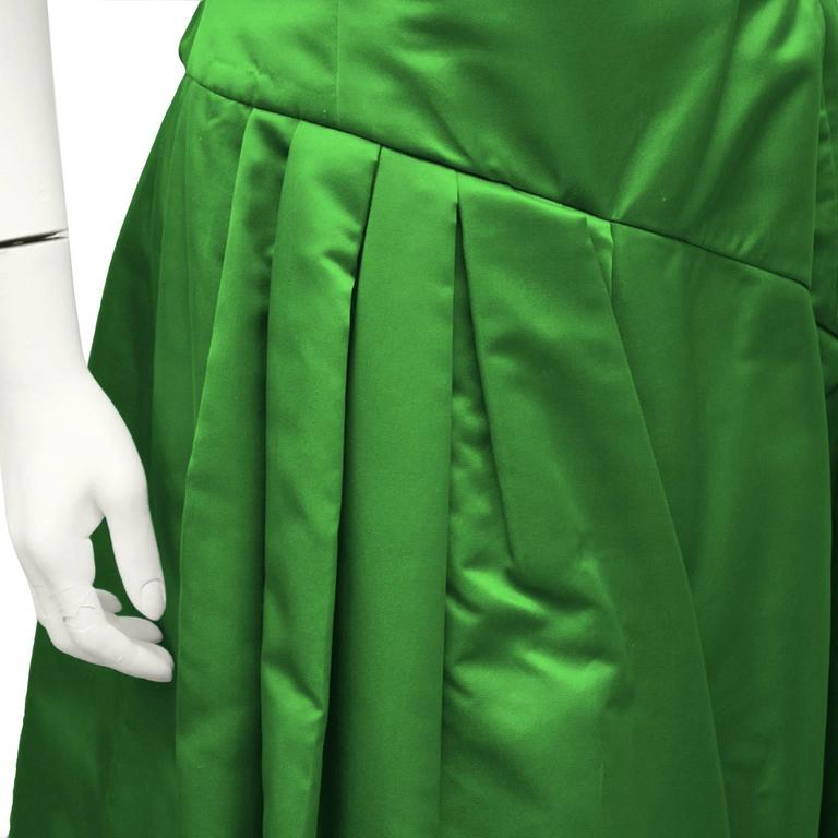 1990's Scaasi Emerald Green Satin Gown 5