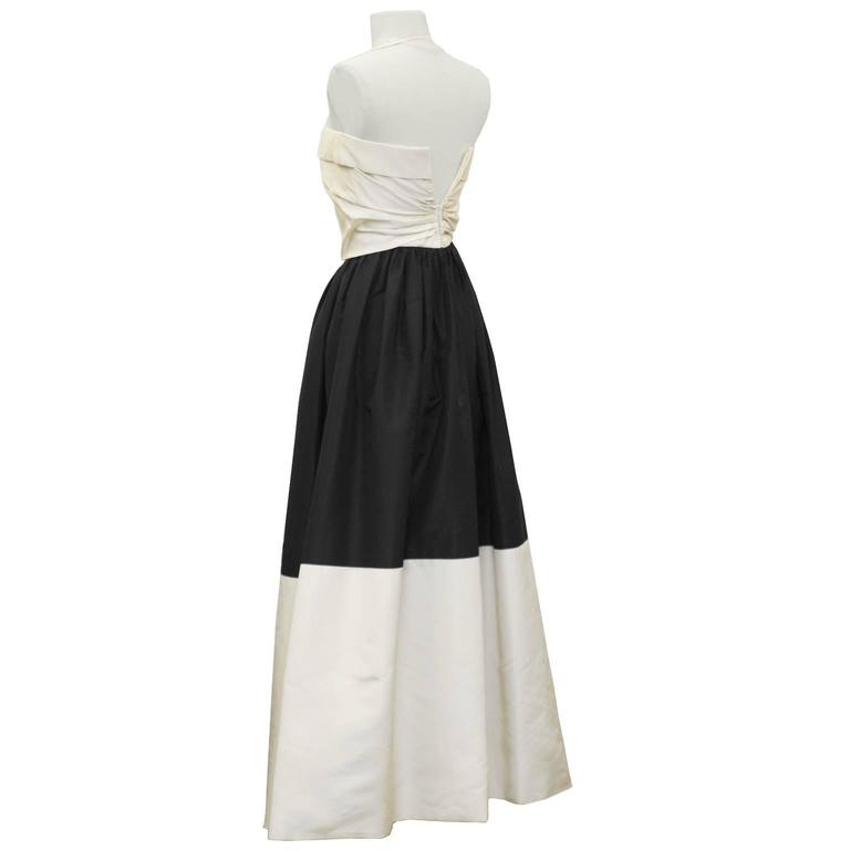 White Pauline Trigere Early 1960's Black and Cream Silk Taffeta Strapless Gown For Sale