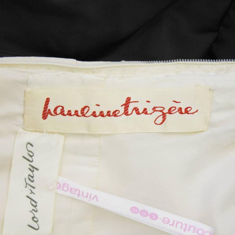 Pauline Trigere Early 1960's Black and Cream Silk Taffeta Strapless Gown For Sale 1