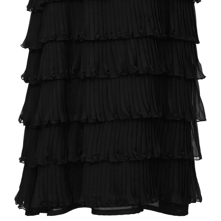 Women's 1970's Black Chiffon Tiered Gown For Sale