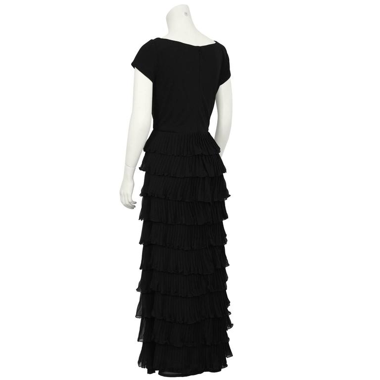 1970's Black Chiffon Tiered Gown In Excellent Condition For Sale In Toronto, Ontario