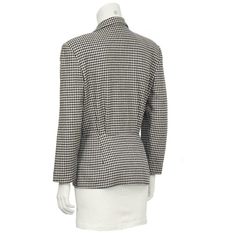 Black 1980's Michael Kors First Collection Houndstooth Top For Sale