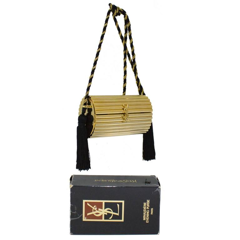 1980 S Yves Saint Laurent Ysl Gold Minaudiere Handbag At
