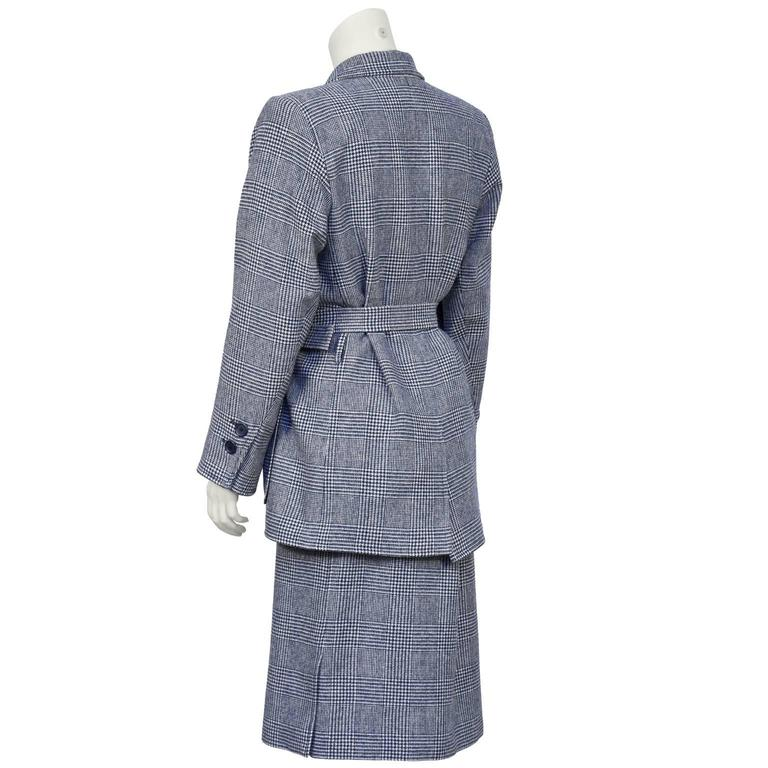 1970's Yves Saint Laurent YSL Blue Houndstooth Wool Safari Suit 3