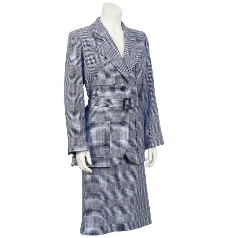 1970's Yves Saint Laurent YSL Blue Houndstooth Wool Safari Suit 2