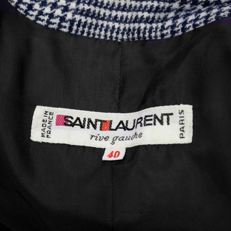 1970's Yves Saint Laurent YSL Blue Houndstooth Wool Safari Suit 6