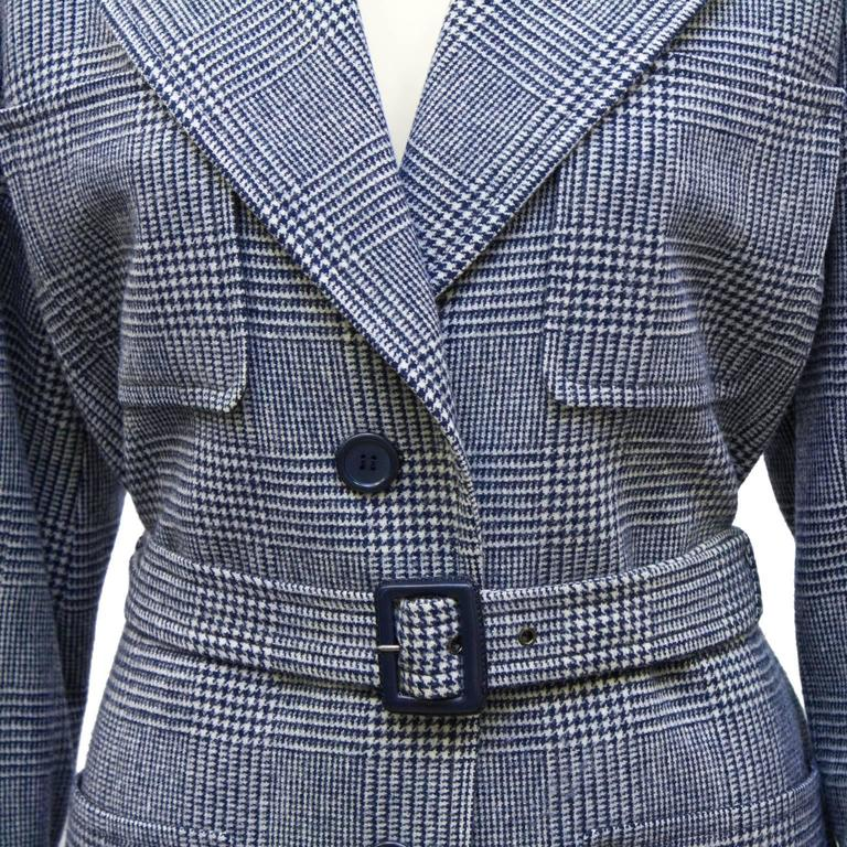 1970's Yves Saint Laurent YSL Blue Houndstooth Wool Safari Suit 5