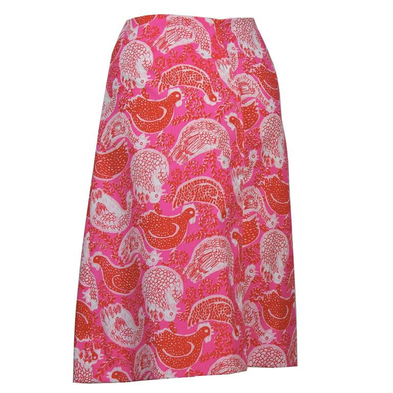 1960's Lilly Pulitzer Pink Rooster Print Skirt In Excellent Condition For Sale In Toronto, Ontario